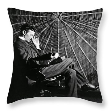 Nikola Tesla And Machine Throw Pillow
