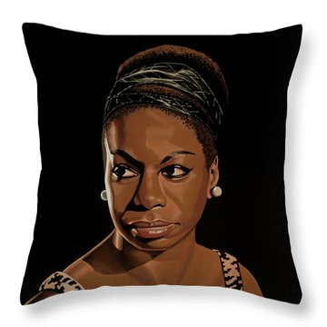 Nina Simone Painting 2 Throw Pillow by Paul Meijering