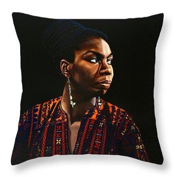 Nina Simone Painting Throw Pillow