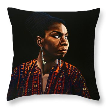 Nina Simone Painting Throw Pillow by Paul Meijering