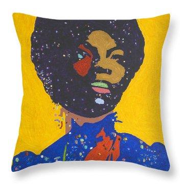 Nina Simone Throw Pillow by Stormm Bradshaw