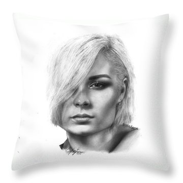 Nina Nesbitt Drawing By Sofia Furniel Throw Pillow
