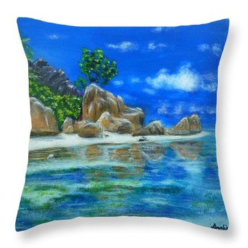 Nina's Beach Throw Pillow