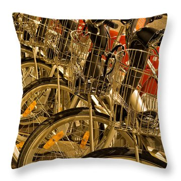 Bikes For Hire In Lyon Throw Pillow