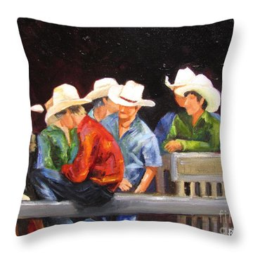 Nine Cowboys On A Fence Throw Pillow