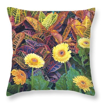 Nine Daisies Throw Pillow