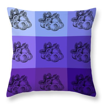 Nine Shades Of Blueberries Throw Pillow