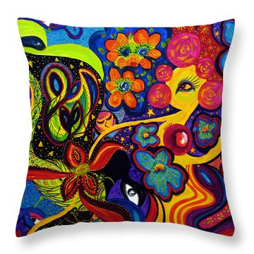 Throw Pillow featuring the painting Joyful by Marina Petro