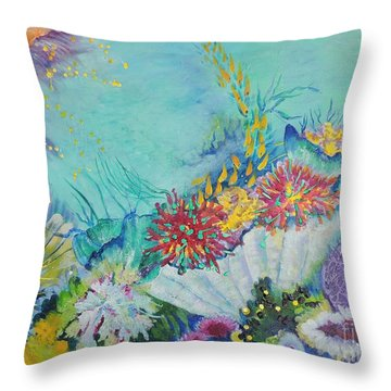 Throw Pillow featuring the painting Ningaloo Reef by Lyn Olsen