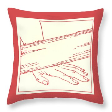 Throw Pillow featuring the drawing Ninth Station- Jesus Falls The Third Time by William Hart McNichols