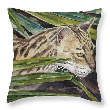 Nirvana - Ocelot Throw Pillow by Roxanne Tobaison