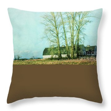 Throw Pillow featuring the photograph Nisqually Barns by Jean OKeeffe Macro Abundance Art