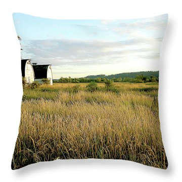 Nisqually Two Barns Throw Pillow
