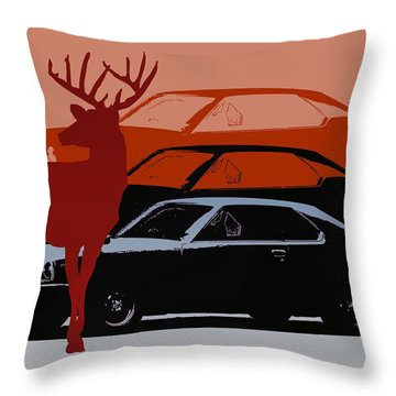Nissan 210 With Deer 3 Throw Pillow