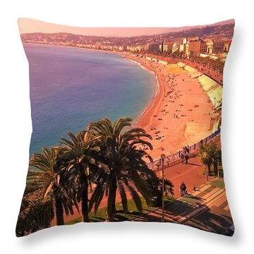 Nizza By The Sea Throw Pillow