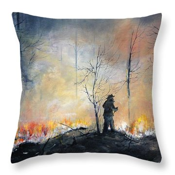 Throw Pillow featuring the painting Nj Forrest Fire by Ken Ahlering