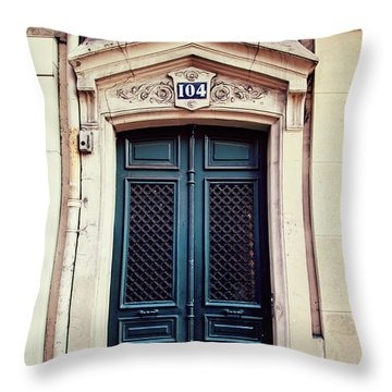 Throw Pillow featuring the photograph No. 104 - Paris Doors by Melanie Alexandra Price