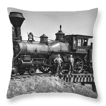 No. 120 Early Railroad Locomotive Throw Pillow by Daniel Hagerman