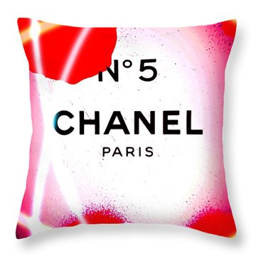 No 5 Pink Throw Pillow by Daniel Janda