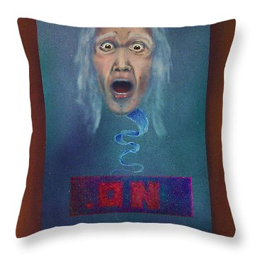 Throw Pillow featuring the painting No Entry Into Heaven by Albert Puskaric