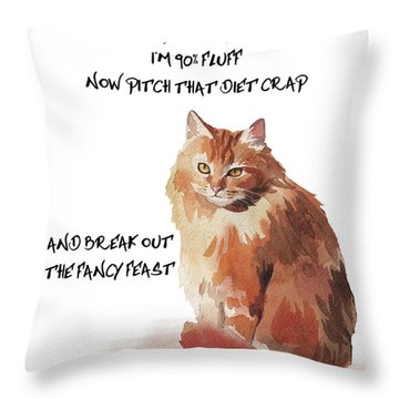 Throw Pillow featuring the painting No Fat Cat by Colleen Taylor