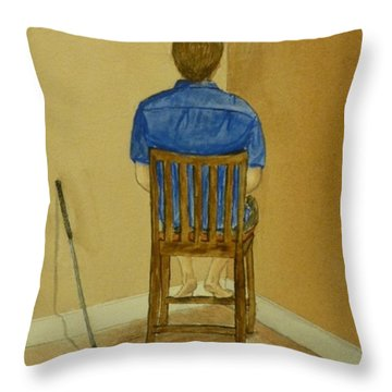 Throw Pillow featuring the painting No Golf For You Today by Kelly Mills