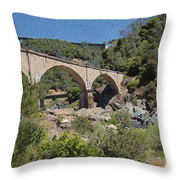 No Hands Bridge Throw Pillow by Anthony Forster