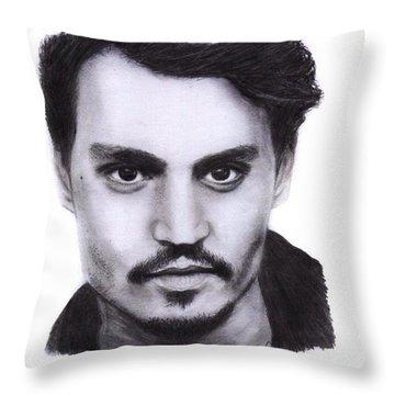 Johnny Depp Drawing By Sofia Furniel Throw Pillow
