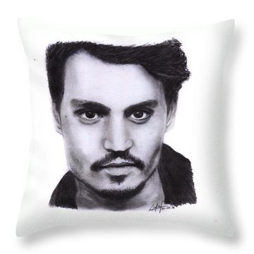 Johnny Depp Drawing By Sofia Furniel Throw Pillow