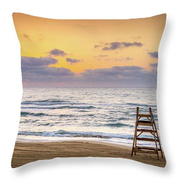 Throw Pillow featuring the photograph No Lifeguard On Duty. by Gary Gillette