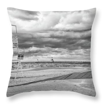 No Lifeguard On Duty Throw Pillow by John Crothers