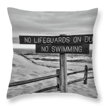 No Lifeguards On Duty Black And White Throw Pillow by Paul Ward