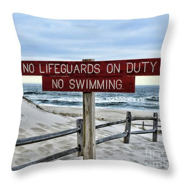 No Lifeguards On Duty Throw Pillow by Paul Ward