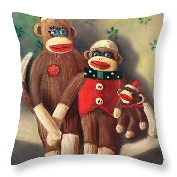 No Monkey Business Here 2 Throw Pillow