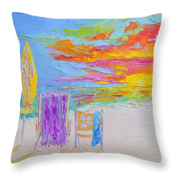 No Need For An Umbrella - Sunset At The Beach - Modern Impressionist Knife Palette Oil Painting Throw Pillow