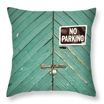 No Parking Warehouse Door Throw Pillow