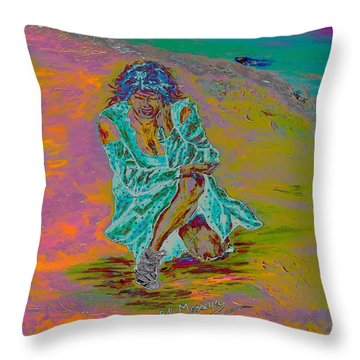 Throw Pillow featuring the painting No Surrender by Loredana Messina