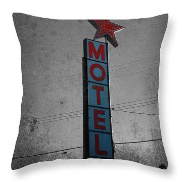 No Tell Motel Throw Pillow by Jerry Cordeiro