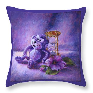 No Time To Monkey Around Throw Pillow by Retta Stephenson