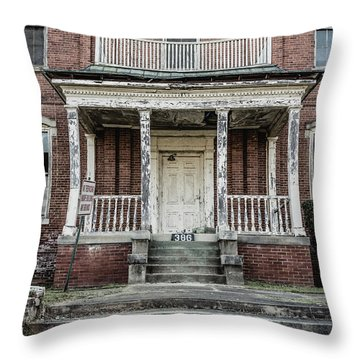 Throw Pillow featuring the photograph No Tresspassing At 386 by Kim Hojnacki