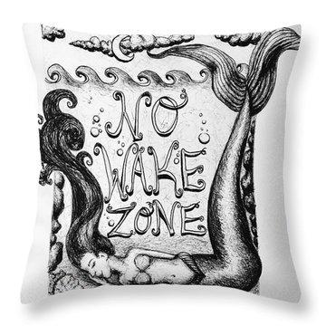 No Wake Zone, Mermaid Throw Pillow