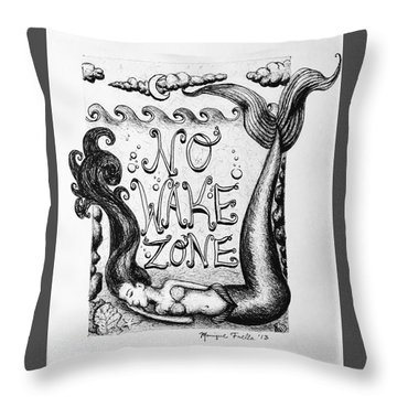 Throw Pillow featuring the drawing No Wake Zone, Mermaid by Monique Faella