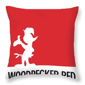 No12 My Minimal Color Code Poster Woody Woodpecker Throw Pillow