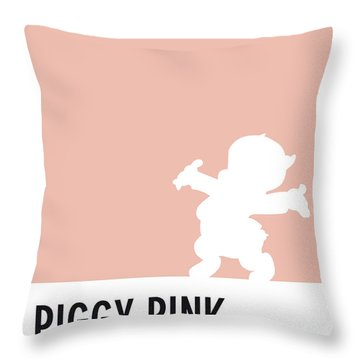No17 My Minimal Color Code Poster Porky Pig Throw Pillow