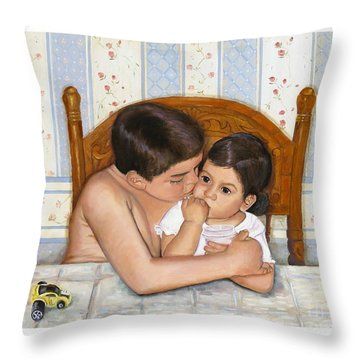 Throw Pillow featuring the painting Noah Takes Time For Kira by Marlene Book