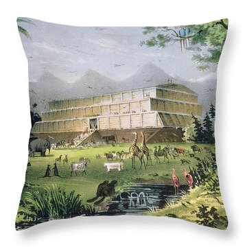 Noahs Ark Throw Pillow by Currier and Ives