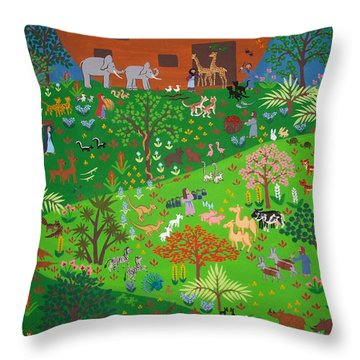 Noahs Ark Throw Pillow by Isolda Nouel