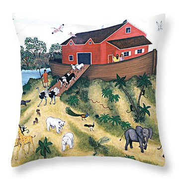 Noah's Ark Throw Pillow by Linda Mears