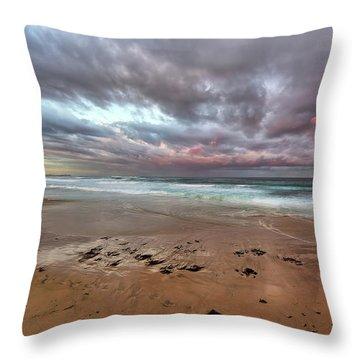 Nobbys Beach At Sunset Throw Pillow