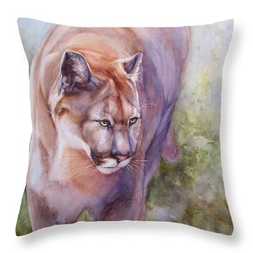 Throw Pillow featuring the painting Noble Cougar by Bonnie Rinier